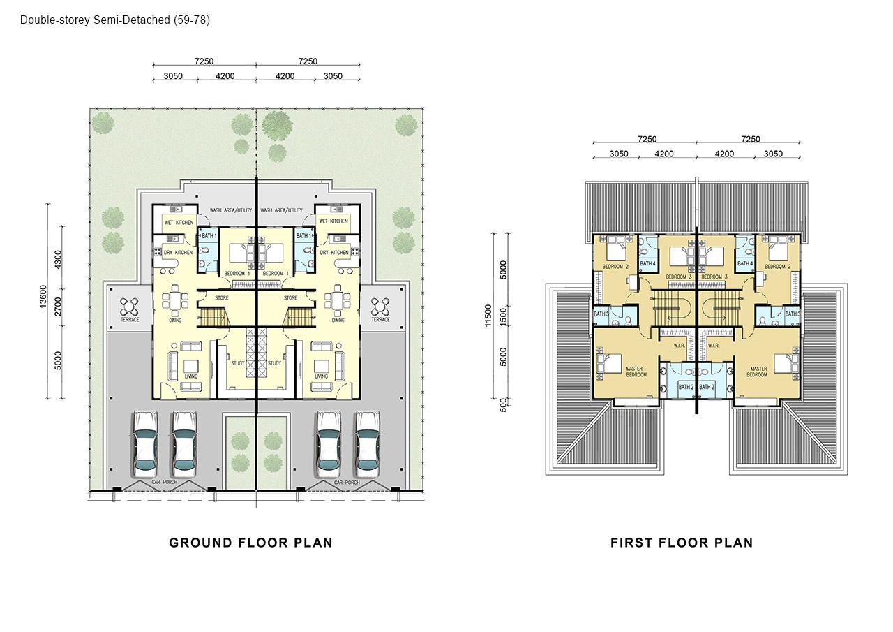 Samariang Aman 2 Oceania Hock Seng Lee Berhad HSL – Double Storey Semi Detached House Floor Plan