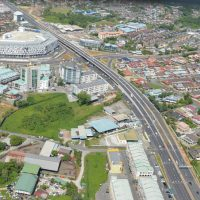 An aerial view depicting the completed Jalan Song Flyover
